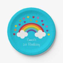 Rainbow 1st Birthday Paper Plate