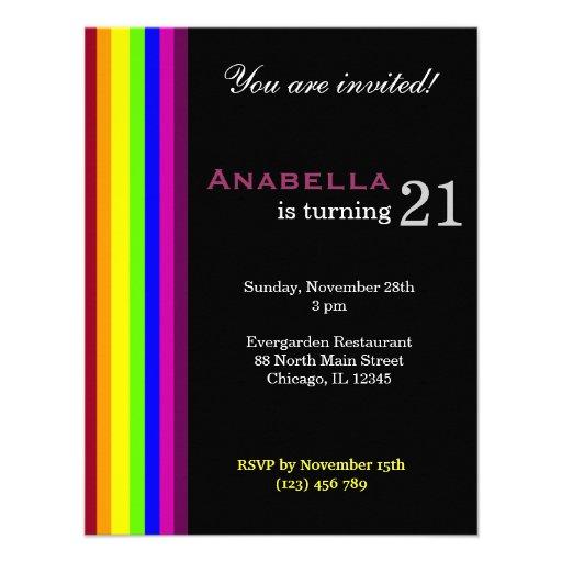 Rainbow 21st Birthday Personalized Invitations