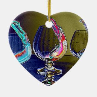 Rainbow 2 Double-Sided heart ceramic christmas ornament