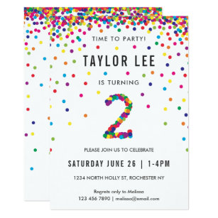 Rainbow 2nd Birthday Party Second Invitation