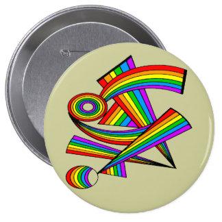 Rainbow # 3 Tattoo Pinback Buttons