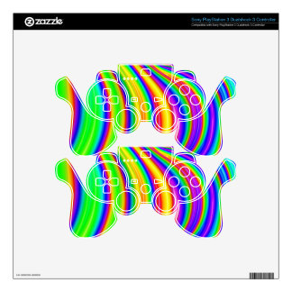 Rainbow 3D abstract art PS3 Controller Decal