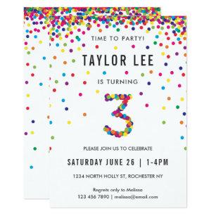 Rainbow 3rd Birthday Party Third Invitation