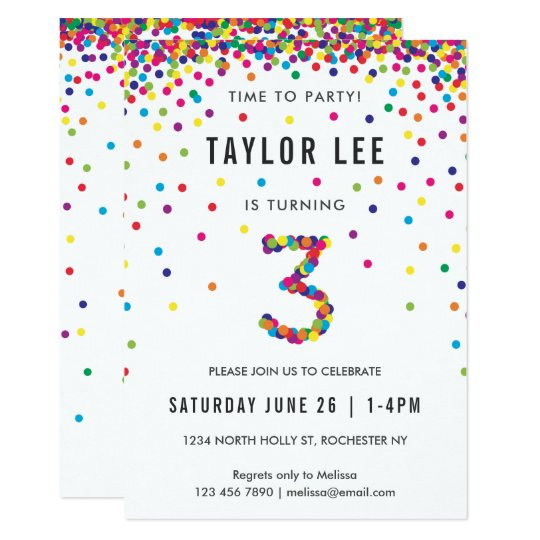 rainbow 3rd birthday party third birthday invitation zazzle com