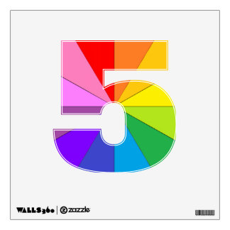Rainbow 5 Colorwheel Numbers Wall Decals