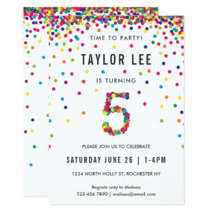 5th Birthday Party Invitation 5 Year Old