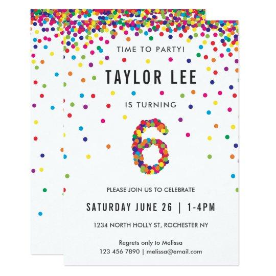 Rainbow 6th Birthday Party Sixth Invitation