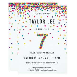 7 year old birthday invitations announcements zazzle rainbow 7 year old birthday party 7th birthday card stopboris Images