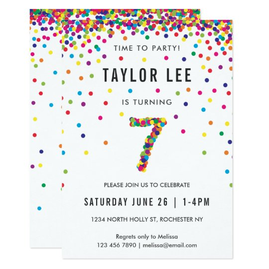 rainbow 7 year old birthday party 7th birthday invitation zazzle com