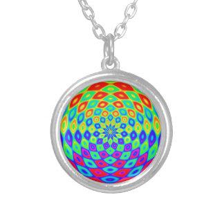 rainbow-882895 DIGITAL COLOURFUL RAINBOW ABSTRACT Round Pendant Necklace