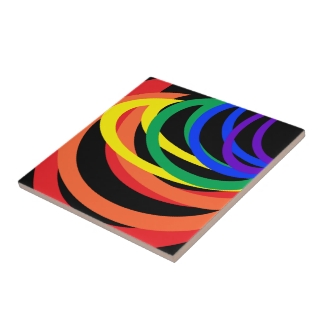 Rainbow Abstract Bold Colors Ceramic Tile