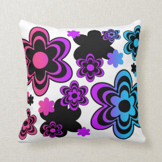 Rainbow Abstract Floral Pillow