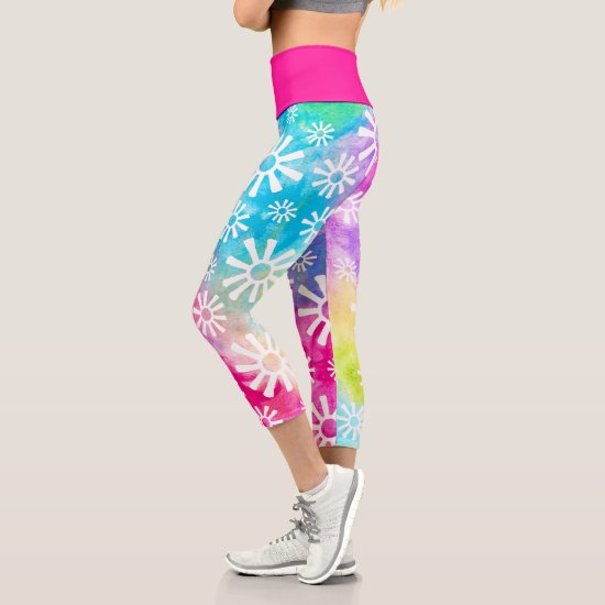 Rainbow Abstract Flower or Tribal Sun Colorful Fun Capri Leggings