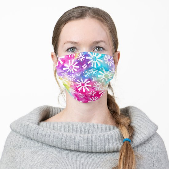 Rainbow Abstract Flower or Tribal Sun Pattern Fun Adult Cloth Face Mask