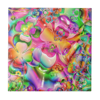 Rainbow Abstract Flowers Ceramic Tile