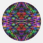 Rainbow Abstract Fractal Art Round Sticker