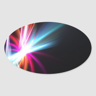 Rainbow Abstract Fractal Oval Sticker
