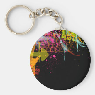 Rainbow Abstract Guitar Art Key Chain