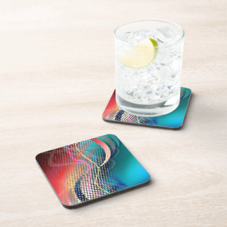 Rainbow Abstract Halftone Design Drink Coaster