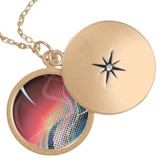 Rainbow Abstract Halftone Design Gold Plated Necklace
