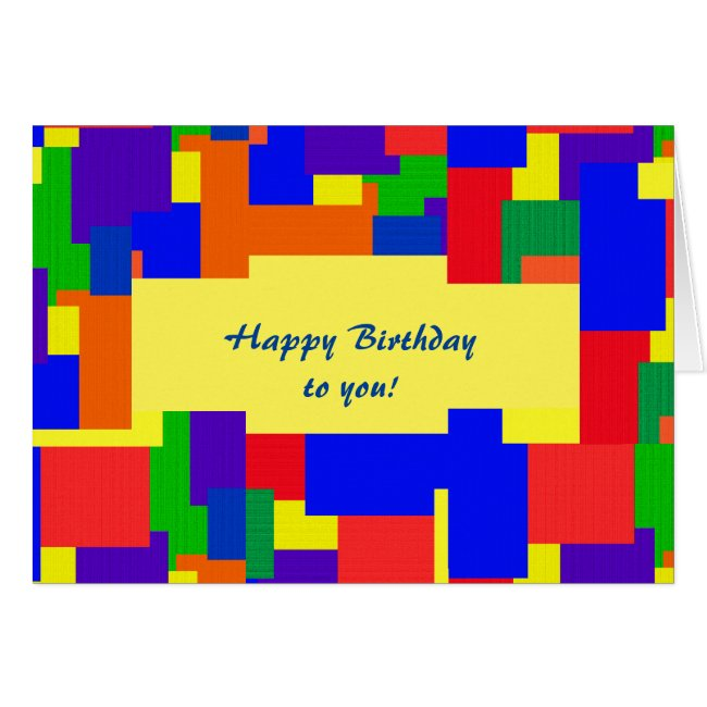 Rainbow Abstract Patchwork Birthday Card