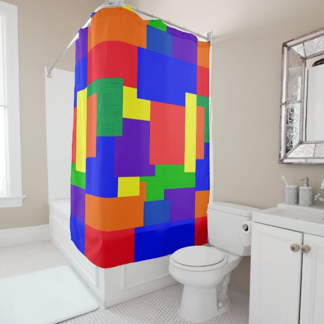 Rainbow Abstract Pattern Patchwork Shower Curtain