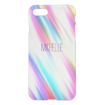 Rainbow Abstract Stripe Brush Strokes with Name iPhone 7 Case
