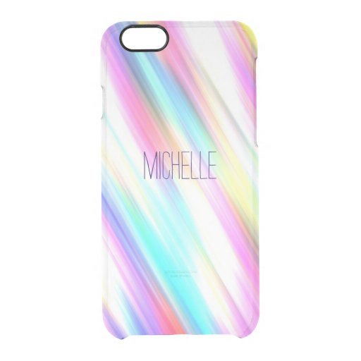 Rainbow Abstract Stripe Brush Strokes with Name Uncommon Clearly(tm) Deflector Iphone 6 Case