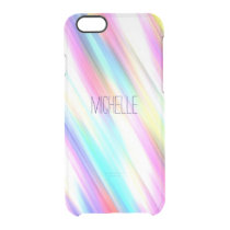 Rainbow Abstract Stripe Brush Strokes with Name Clear iPhone 6/6S Case