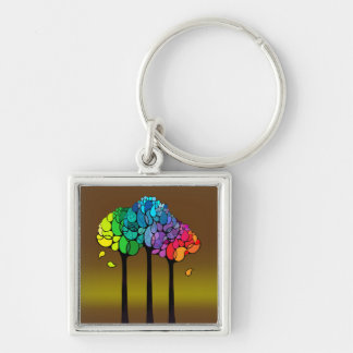 Rainbow Abstract Trees Keychain