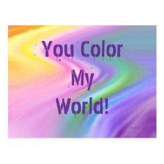 Rainbow Abstract, You Color My World! Postcard
