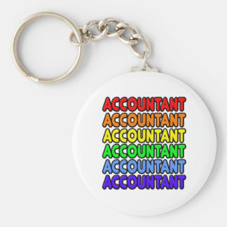 Rainbow Accountant Basic Round Button Keychain