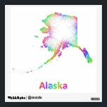 """Rainbow Alaska map Wall Decal<br><div class=""""desc"""">Rainbow Alaska state map from multicolored curved lines</div>"""
