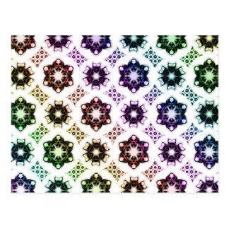 Rainbow Alien Eye Fractal Art Pattern Postcard
