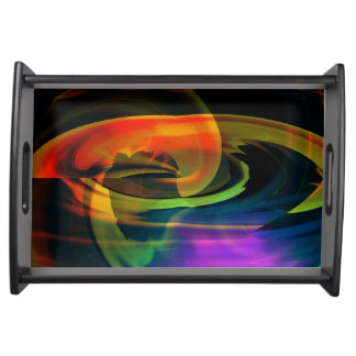 Rainbow Alien Landscape Abstract Serving Tray -Blk