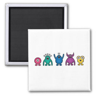 Rainbow Alien Monsters 2 Inch Square Magnet