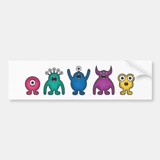 Rainbow Alien Monsters Car Bumper Sticker