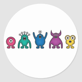 Rainbow Alien Monsters Classic Round Sticker