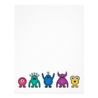 Rainbow Alien Monsters Customized Letterhead
