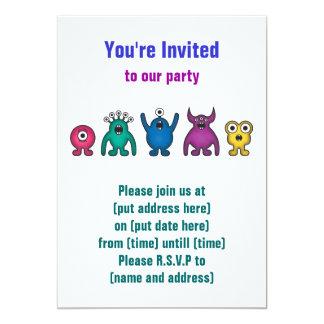 "Rainbow Alien Monsters 5"" X 7"" Invitation Card"