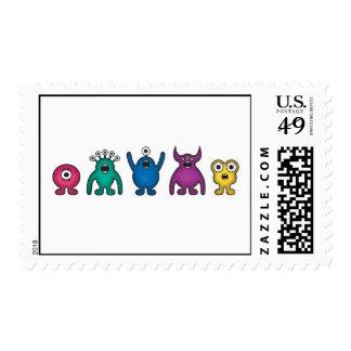 Rainbow Alien Monsters Postage Stamp