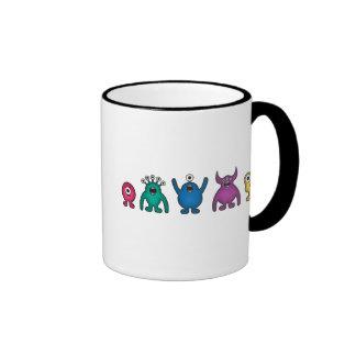Rainbow Alien Monsters Ringer Coffee Mug