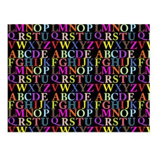 Rainbow Alphabet Postcard