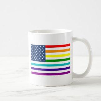 Rainbow American Flag Coffee Mug