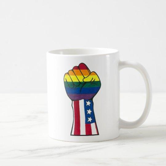 rainbow/American flag fist Coffee Mug