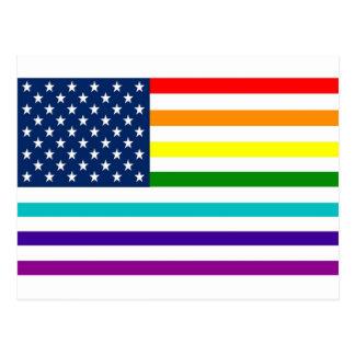 Rainbow American Flag Postcard