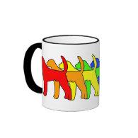 Rainbow American Foxhound Coffee Mugs