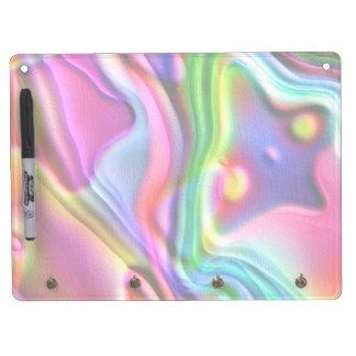 Rainbow Amoeba Colorful Swirls Dry Erase Board With Keychain Holder