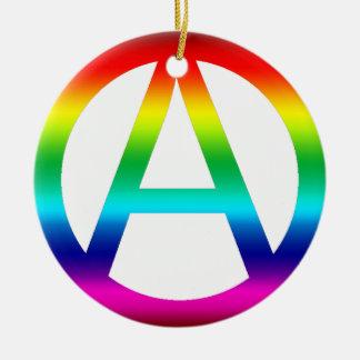 Rainbow Anarchy Symbol Ornament