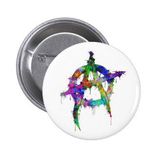 Rainbow Anarchy Symbol Pinback Button
